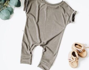 Harem style romper, Olive Romper, Minimalist Clothing