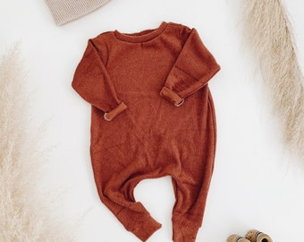 Harem style romper, Clay Terry Romper, Long Sleeve Romper, Minimalist Clothing