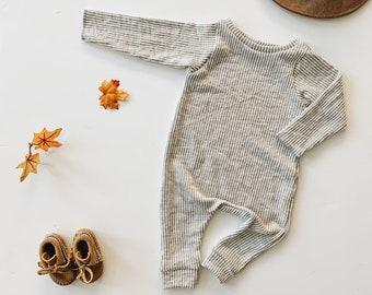 Harem style romper, Slate Stripe Romper, Long Sleeve Romper, Minimalist Clothing