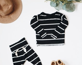 Baby Unisex shirt and pants set, Harem pants, Long sleeve tee, Striped Ribbes set, Modern cothes
