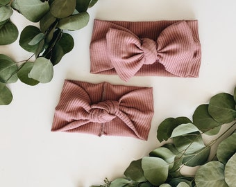Nude Knotted Headband, Blush Baby Headband, Kids Turban Headwrap, Bow Headband