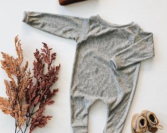 Harem style romper, Grey Terry Romper, Long Sleeve Romper, Minimalist Clothing
