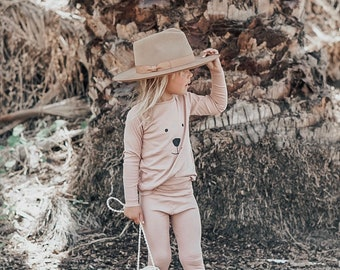 Baby Unisex shirt and pants set, Harem pants, Long sleeve tee, Blush Bear  Knit Set, Modern cothes