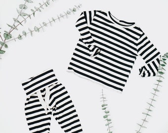 Baby Unisex shirt and pants set, Harem pants, Long sleeve tee, Striped Black and White Ribbed set, Modern clothes