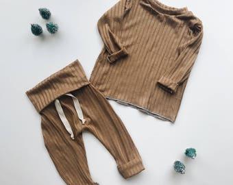 Baby Unisex shirt and pants set, Harem pants, Long sleeve tee, Modern cothes, Camel set