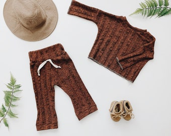 Baby Unisex shirt and pants set, Harem pants, Long sleeve tee, Ribbed Brick Knit Set, Modern clothes