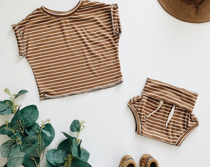 Featured listing image: Baby Unisex shirt and pants set, Oversized tee and shorties , Brown Stripe set, Modern clothes