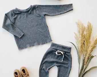 Baby Unisex shirt and pants set, Harem pants, Long sleeve tee,  Ocean Knit Set, Modern cothes