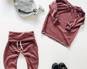 Baby Unisex shirt and pants set, Harem pants,going home outfit, Burgundy set, Modern cothes