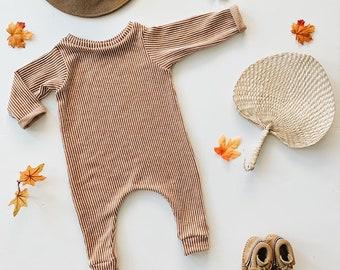 Harem style romper, Pumpkin Stripe Romper, Long Sleeve Romper, Minimalist Clothing