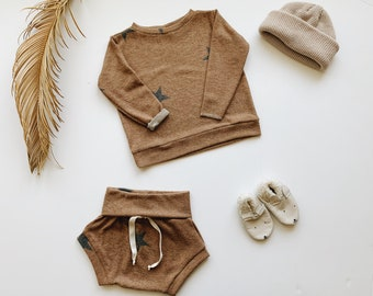 Baby Sweatshirt and shorts set, Oversized sweater and shorties ,Star set, Modern clothes