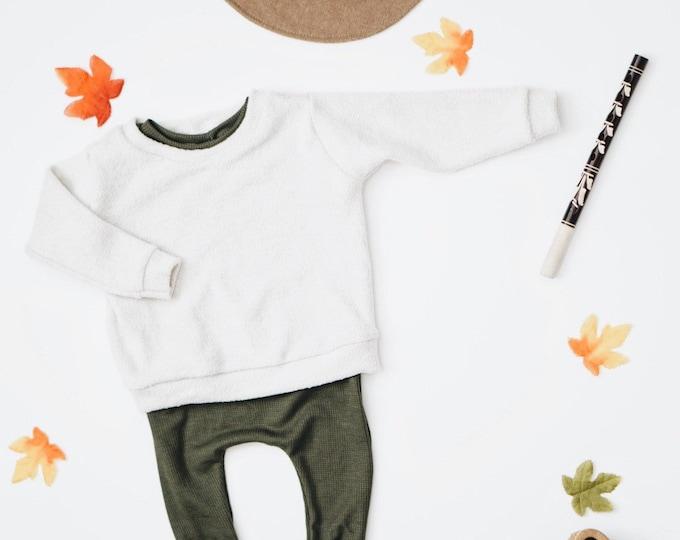 Featured listing image: Baby sweatshirt, Marshmallow  pullover , Baby crewneck, Boxy sweatshirt