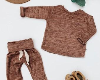 Baby Unisex shirt and pants set, Harem pants, Long sleeve tee, Heather Rust set, Modern cothes