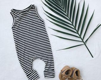 Harem style romper,black and white Romper, Tank Romper, Minimalist Clothes