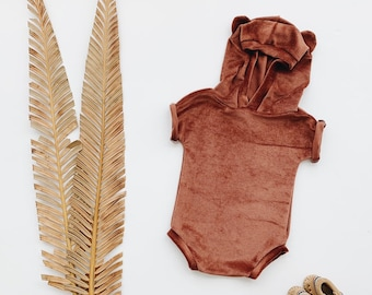 Kids playsuit, Summer Romper, Minimalist clothing, Copper Bear Romper