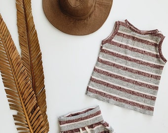 Baby Unisex shirt and pants set, Oversized tee and shorties , Striped Burgundy  set, Modern clothes