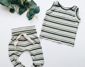Baby Unisex tank and pants set, Harem pants,going home outfit, Olive stripe set, Modern cothes