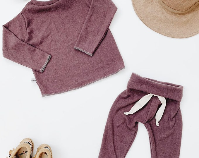 Featured listing image: Baby Unisex shirt and pants set, Harem pants, Long sleeve tee, Plum fuzzy set, Modern cothes