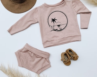 rts, Baby Sweatshirt and shorts set, Oversized sweater and shorties ,Blush set, Sunset Set, Modern clothes