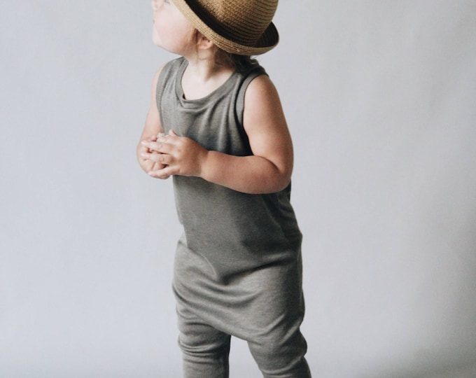 Featured listing image: Harem style romper, Fern green  Romper, Minimalist Clothes
