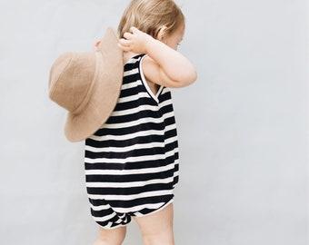 Kids playsuit, Summer Romper, Minimalist clothing, Velvet striped Romper