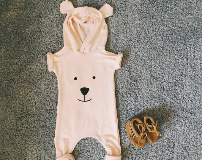 Featured listing image: Harem style romper, Pink Romper, Bear face romper, Hooded Romper