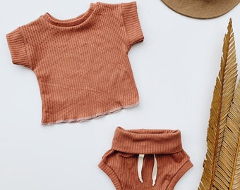 Baby Unisex shirt and pants set, Oversized tee and shorties , Waffle set, Modern clothes