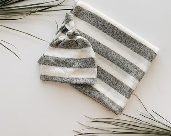 Baby Blanket, Swaddle blanket and Beanie set, Coming home outfit,  Grey Stripe blanket set.