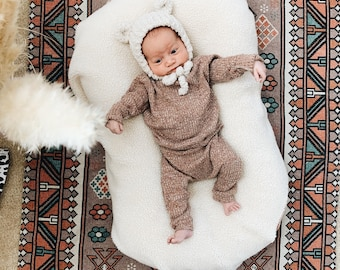 Baby Unisex shirt and pants set, Harem pants, Long sleeve tee, Cinnamon knit  set, Modern cothes