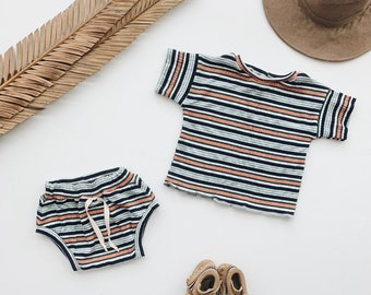 Baby Unisex shirt and pants set, Oversized tee and shorties , Vintage Stripe set, Modern clothes