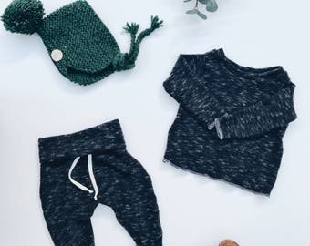 Baby Unisex shirt and pants set, Harem pants, Long sleeve tee, Starry night set, Modern cothes