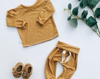 Baby Unisex shirt and pants set, Harem pants, Long sleeve tee, Camel stripe set, Modern clothes