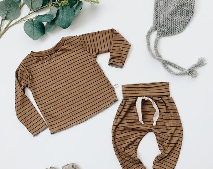Featured listing image: Baby Unisex shirt and pants set, Harem pants, Long sleeve tee, Coffee stripe set, Modern cothes