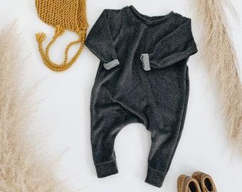 Harem style romper, Asphalt Terry Romper, Long Sleeve Romper, Minimalist Clothing