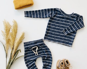 Baby Unisex shirt and pants set, Harem pants, Long sleeve tee,  Navy Stripe Knit Set, Modern cothes