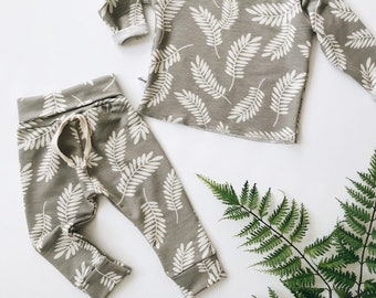 Baby Unisex shirt and pants set, Harem pants, Long sleeve tee, Modern cothes, Fern set