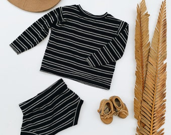 Baby Sweatshirt and shorts set, Oversized sweater and shorties ,Black Stripe set, Modern clothes
