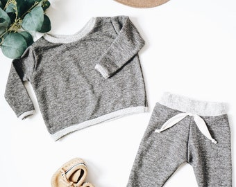 Baby Unisex shirt and pants set, Harem pants,going home outfit, Grey set, Modern cothes