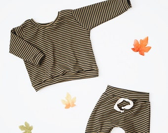Baby sweatshirt, Olive Striped pullover , Baby crewneck, Boxy sweatshirt