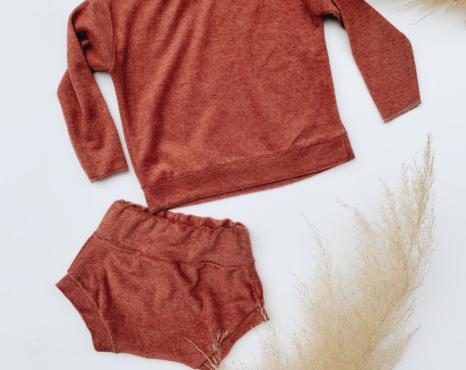 Featured listing image: Baby Sweatshirt and shorts set, Oversized sweater and shorties ,Terry set, Modern clothes