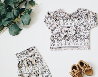 Baby Unisex shirt and pants set, Harem pants, Long sleeve tee, Aztec set, Modern cothes