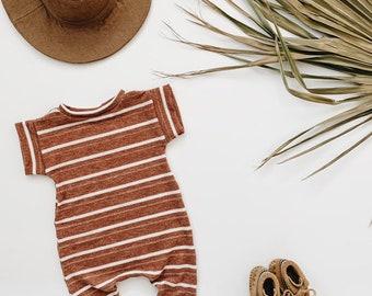 Harem style romper, Copper Stripe  Romper,  Ribbed Romper, Minimalist Clothes