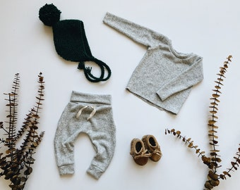 Baby Unisex shirt and pants set, Harem pants, Long sleeve tee,  Denali Knit Set, Modern cothes