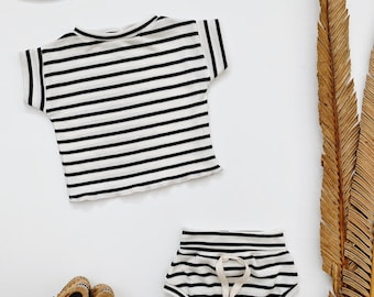 Baby Unisex shirt and pants set, Oversized tee and shorties ,  Striped Ribbed  set, Modern clothes