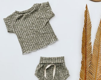 Baby Unisex shirt and pants set, Oversized tee and shorties , Olive Ribbed set, Modern clothes
