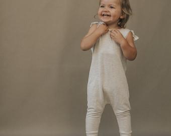 Harem style romper, Oatmeal Striped Romper, Minimalist Clothes, Ties romper