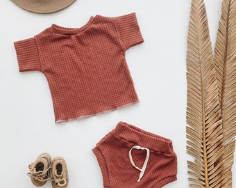 Baby Unisex shirt and pants set, Oversized tee and shorties , Terra Cotta  thermal set, Modern clothes