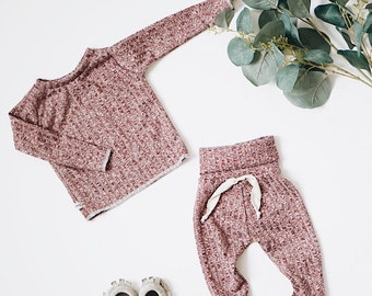 Baby Unisex shirt and pants set, Harem pants,going home outfit, Burgundy Knit set, Modern cothes