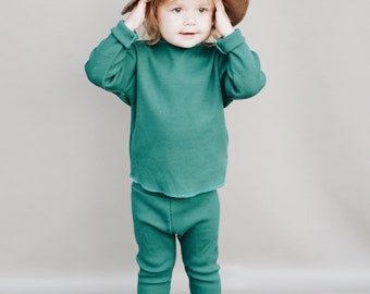Baby Unisex shirt and pants set, Harem pants, Long sleeve tee, Forest Thermal set, Modern cothes