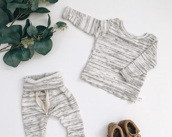 Baby Unisex shirt and pants set, Harem pants, Long sleeve tee, Modern cothes, speckled sweater set